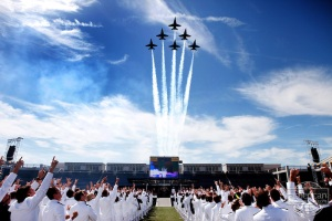 "The United States Navy's ""Blue Angels"" fly over the Naval Academy's 2009 commencement ceremony in Delta Formation in Annapolis, Md., May 22, 2009. (Official White House Photo by Lawrence Jackson) This official White House photograph is being made available for publication by news organizations and/or for personal use printing by the subject(s) of the photograph. The photograph may not be manipulated in any way or used in materials, advertisements, products, or promotions that in any way suggest approval or endorsement of the President, the First Family, or the White House."